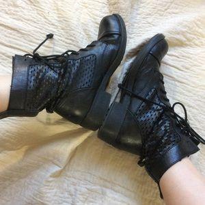 Black Mesh Flat Combat Boots Sexy!